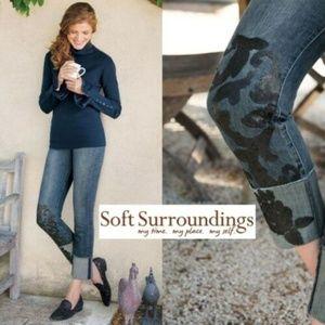 Soft Surrounding Floral Sequin Crop Jeans HW6213